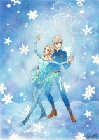 Jack Frost och Elsa (Rise of the Guardians/Frozen, Dreamworks/Disney) Färglagd med Copics Digital.