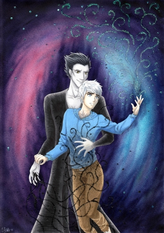 Fanart på Jack Frost och Pitch Black (Rise of the Guardians, Dreamworks) Färglagd med Copics. 2015
